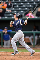 Pensacola Blue Wahoos second baseman Brodie Greene (4) at bat during a game against the Jacksonville Suns on April 20, 2014 at Bragan Field in Jacksonville, Florida.  Jacksonville defeated Pensacola 5-4.  (Mike Janes/Four Seam Images)
