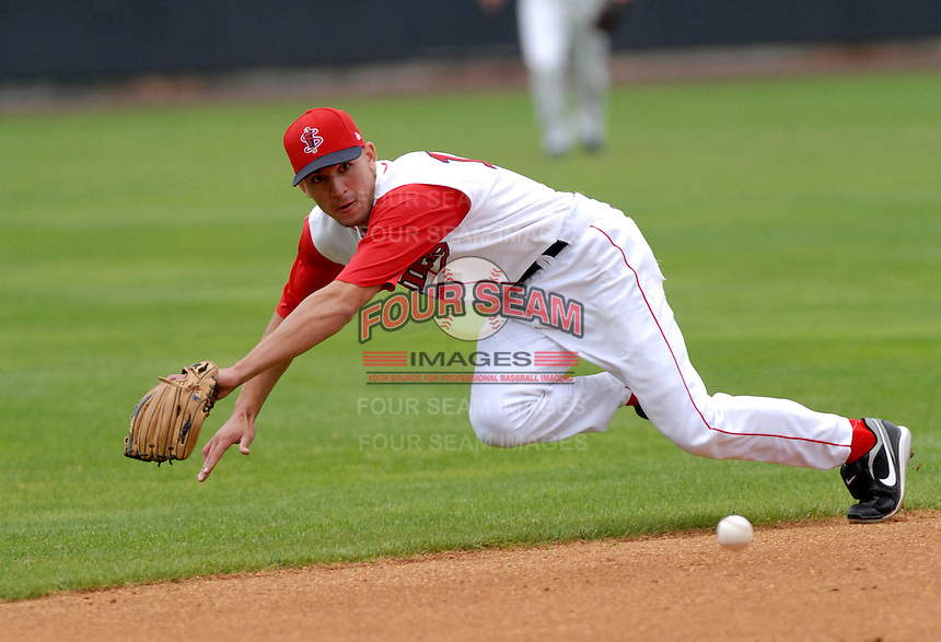 INF Derrik Gibson of the Lowell Spinners, the short season NY-P affiliate of the Boston Red Sox ,at LeLacheur Field in Lowell, MA on August 9, 2009. (Photo by Ken Babbitt/Four Seam Images)