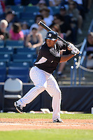 Outfielder Zoilo Almonte (65) of the New York Yankees during a spring training game against the Philadelphia Phillies on March 1, 2014 at Steinbrenner Field in Tampa, Florida.  New York defeated Philadelphia 4-0.  (Mike Janes/Four Seam Images)