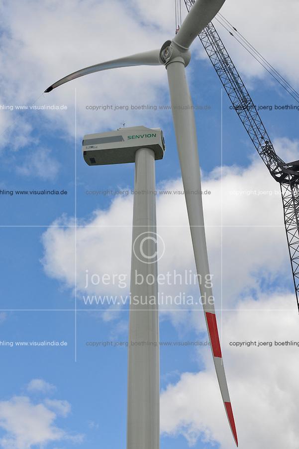 GERMANY Schleswig-Holstein Nortorf, construction of wind turbine SENVION 3.2M114, performance 3,2 Megawatt, rotor blade diametre 114 meter, Senvion (formerly REpower AG) is part of indian Suzlon Group / DEUTSCHLAND Schleswig Holstein Nortorf, Aufbau einer Windkraftanlage Senvion 3.2M 114