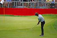 3rd July 2021, Detroit, MI, USA;  Bubba Watson putts on the 9th hole on July 3, 2021 during the Rocket Mortgage Classic at the Detroit Golf Club in Detroit, Michigan.