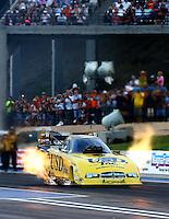Jul. 19, 2013; Morrison, CO, USA: NHRA funny car driver Jeff Arend during qualifying for the Mile High Nationals at Bandimere Speedway. Mandatory Credit: Mark J. Rebilas-