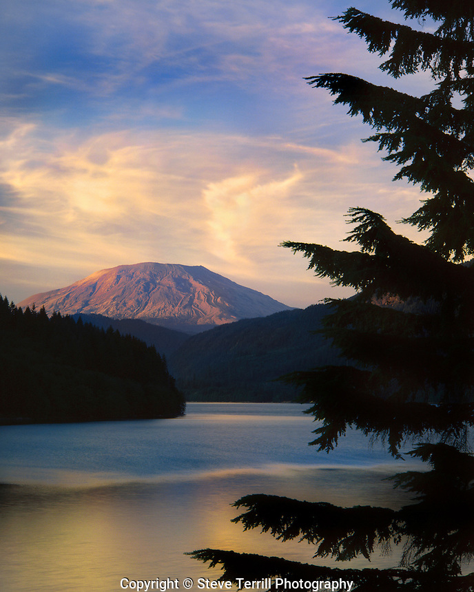 Mt St Helens from Yale Lake Washington in July 1981