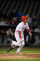Peoria Chiefs first baseman Stefan Trosclair (28) follows through on a swing during a game against the West Michigan Whitecaps on May 8, 2017 at Dozer Park in Peoria, Illinois.  West Michigan defeated Peoria 7-2.  (Mike Janes/Four Seam Images)