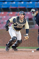 Catcher Michael Murray #15 of the Wake Forest Demon Deacons chases down  the baseball at Wake Forest Baseball Park April 8, 2009 in Winston-Salem, North Carolina. (Photo by Brian Westerholt / Four Seam Images)