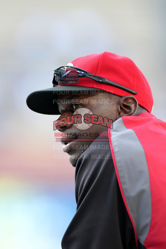 Cincinnati Reds outfielder Fred Lewis #15 before a game against the Los Angeles Dodgers at Dodger Stadium on June 14, 2011 in Los Angeles,California. (Larry Goren/Four Seam Images)