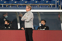 FOXBOROUGH, MA - OCTOBER 19: Philadelphia Union coach Jim Curtin during a game between Philadelphia Union and New England Revolution at Gillette on October 19, 2020 in Foxborough, Massachusetts.