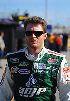 Feb 11, 2009; Daytona Beach, FL, USA; NASCAR Sprint Cup Series driver Dale Earnhardt Jr during practice for the Daytona 500 at Daytona International Speedway. Mandatory Credit: Mark J. Rebilas-