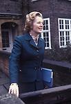 Mrs Maggie Margaret outside her home in Flood Street, Chelsea London. 1979