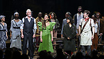 Patrick Page, Amber Gray, Eve Noblezada and Reeve Carney with cast during Broadway Opening Night Performance Curtain Call for 'Hadestown' at the Walter Kerr Theatre on April 17, 2019 in New York City.