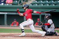 Left fielder Wil Dalton (26) of the Greenville Drive in a game against the Hickory Crawdads on Friday, June 18, 2021, at Fluor Field at the West End in Greenville, South Carolina. (Tom Priddy/Four Seam Images)