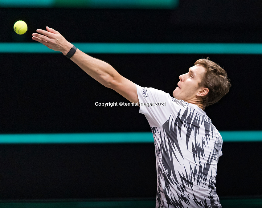 Rotterdam, The Netherlands, 2 march  2021, ABNAMRO World Tennis Tournament, Ahoy, First round match: Egor Gerasimov (BLR).<br /> Photo: www.tennisimages.com/henkkoster