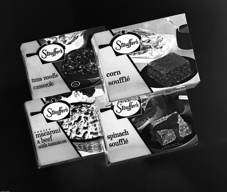 Client: Stouffer's Foods<br /> Ad Agency: Ketchum, MacLeod & Grove<br /> Contact: Al Vazquey<br /> Product:  Stouffer's Frozen Foods<br /> Location:  Brady Stewart Studio at 211 Empire Building in Pittsburgh<br /> <br /> The Stouffer family's frozen food business began in the 1940s when customers started asking for frozen versions of the meals served in the restaurants. The Stouffers sold their company to Litton Industries in 1967, who in turn sold it to Nestlé in 1973. Nestle Foods has created a campus-like area at the headquarters in Solon, Ohio.