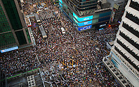An aerial view of Mong Kok, on the second day of the mass civil disobedience campaign Occupy Hong Kong, Mong Kok, Kowloon, Hong Kong, China, 30 September 2014. The movement is also being dubbed the 'umbrella revolution' after the versatile umbrellas used to shield protesters from rain, sun - and police pepper spray.