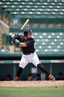 GCL Orioles Christopher Burgess (48) at bat during a Gulf Coast League game against the GCL Braves on August 5, 2019 at Ed Smith Stadium in Sarasota, Florida.  GCL Orioles defeated the GCL Braves 4-3 in the second game of a doubleheader.  (Mike Janes/Four Seam Images)