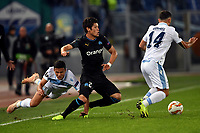 Luiz Felipe (L) and Riza Durmisi of Lazio and Hiroki Sakai of Marseille compete for the ball during the Uefa Europa League 2018/2019 football match between SS Lazio and Marseille at stadio Olimpico, Roma, November, 08, 2018 <br />  Foto Andrea Staccioli / Insidefoto