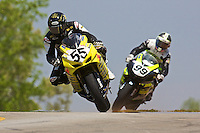 Cory West (55) leads another racer at the AMA Superbike Showdown at Road ATlanta, Braselton, GA, April 2010.  (Photo by Brian Cleary/www.bcpix.com)