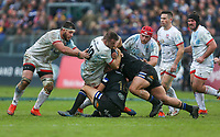 16 November 2019; Alan O'Connor is tackled by Beno Obano and Jack Walker during the Heineken Champions Cup Pool 3 Round 1 match between Bath and Ulster at The Recreation Ground in Bath, England. Photo by John Dickson/DICKSONDIGITAL