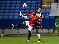 Bolton Wanderers' Alex John-Baptiste competing with Salford City's Brandon Thomas-Asante (left) <br /> <br /> Photographer Andrew Kearns/CameraSport<br /> <br /> The EFL Sky Bet League Two - Bolton Wanderers v Salford City - Friday 13th November 2020 - University of Bolton Stadium - Bolton<br /> <br /> World Copyright © 2020 CameraSport. All rights reserved. 43 Linden Ave. Countesthorpe. Leicester. England. LE8 5PG - Tel: +44 (0) 116 277 4147 - admin@camerasport.com - www.camerasport.com