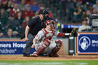 Oklahoma Sooners catcher Justin Mitchell (14) sets a target as home plate umpire Ken Langford looks on during the game against the LSU Tigers in game seven of the 2020 Shriners Hospitals for Children College Classic at Minute Maid Park on March 1, 2020 in Houston, Texas. The Sooners defeated the Tigers 1-0. (Brian Westerholt/Four Seam Images)