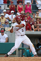 University of South Carolina Gamecocks third baseman Adrian Morales #3 at bat during the 2nd and deciding game of the NCAA Super Regional vs. the University of Coastal Carolina Chanticleers on June 13, 2010 at BB&T Coastal Field in Myrtle Beach, SC.  The Gamecocks defeated Coastal Carolina 10-9 to advance to the 2010 NCAA College World Series in Omaha, Nebraska. Photo By Robert Gurganus/Four Seam Images