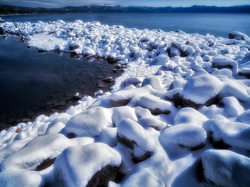 New snow on shore of Lake Tahoe, California