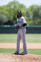 AZL Padres 2 relief pitcher Vijay Miller (38) gets ready to deliver a pitch during an Arizona League game against the AZL Dodgers at Camelback Ranch on July 4, 2018 in Glendale, Arizona. The AZL Dodgers defeated the AZL Padres 2 9-8. (Zachary Lucy/Four Seam Images)