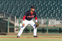AZL Indians 1 first baseman Miguel Jerez (26) during an Arizona League playoff game against the AZL Rangers at Goodyear Ballpark on August 28, 2018 in Goodyear, Arizona. The AZL Rangers defeated the AZL Indians 1 7-4. (Zachary Lucy/Four Seam Images)