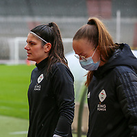 Goalkeeper Louise Van Den Bergh (1) of OHL pictured before a female soccer game between RSC Anderlecht Dames and Oud Heverlee Leuven on the seventh matchday of play off 1 of the 2020 - 2021 season of Belgian Womens Super League , saturday 15 th of May 2021  in Brussels , Belgium . PHOTO SPORTPIX.BE   SPP   SEVIL OKTEM