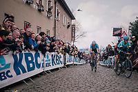Wout Van Aert (BEL/Veranda's Willems-Crelan) coming up the Oude Kwaremont<br /> <br /> 102nd Ronde van Vlaanderen 2018 (1.UWT)<br /> Antwerpen - Oudenaarde (BEL): 265km