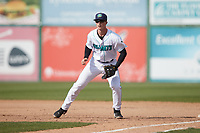 Lynchburg Hillcats first baseman Will Bartlett (44) on defense against the Myrtle Beach Pelicans at Bank of the James Stadium on May 23, 2021 in Lynchburg, Virginia. (Brian Westerholt/Four Seam Images)