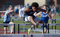 AJ Moss of Bentonville West competes Friday, April 30, 2021, in the 110-meter hurdles during the 6A-West Conference Track and Field Meet at the Tiger Athletic Complex in Bentonville. Visit nwaonline.com/210501Daily/ for today's photo gallery. <br /> (NWA Democrat-Gazette/Andy Shupe)