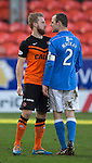 Dundee United v St Johnstone.....21.02.15<br /> Henri Anier and Dave Mackay square up<br /> Picture by Graeme Hart.<br /> Copyright Perthshire Picture Agency<br /> Tel: 01738 623350  Mobile: 07990 594431