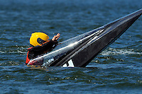 "Grant Hearn (12-H) signals ""Okay"" after a violent spinout. (runabout)....Stock  Outboard Winter Nationals, Ocoee, Florida, USA.13/14 March, 2010 © F.Peirce Williams 2010"