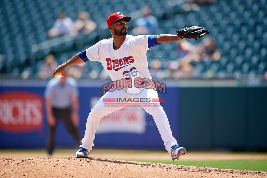 Buffalo Bisons relief pitcher Al Alburquerque (36) delivers a pitch during a game against the Pawtucket Red Sox on June 28, 2018 at Coca-Cola Field in Buffalo, New York.  Buffalo defeated Pawtucket 8-1.  (Mike Janes/Four Seam Images)
