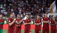 Calcio, Serie A: Roma, stadio Olimpico, 28 maggio 2017.<br /> As Roma's Francesco Totti speaks to his fans during a ceremony to celebrate his last match with AS Roma after the Italian Serie A football match between AS Roma and Genoa at Rome's Olympic stadium, May 28, 2017.<br /> Francesco Totti's final match with Roma after a 25-season career with his hometown club.<br /> UPDATE IMAGES PRESS/Isabella Bonotto