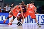 Valencia Basket's Sam Van Rosso and Bojan Dubljevic and FCB Lassa's Xavier Mumford during Semi Finals match of 2017 King's Cup at Fernando Buesa Arena in Vitoria, Spain. February 18, 2017. (ALTERPHOTOS/BorjaB.Hojas)