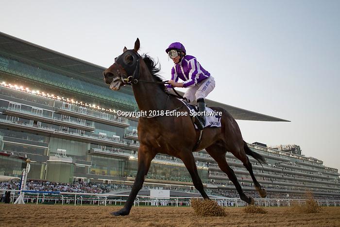 DUBAI,UNITED ARAB EMIRATES-MARCH 31: Mendellsohn,ridden by Ryan Moore,wins the UAE Derby at Meydan Racecourse on March 31,2018 in Dubai,United Arab Emirates (Photo by Kaz Ishida/Eclipse Sportswire/Getty Images)