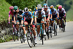 The chase group including Polka Dot Jersey David de la Cruz (ESP) UAE Team Emirates and Miguel Angel Lopez Moreno (COL) Astana during Stage 5 of Criterium du Dauphine 2020, running 153.5km from Megeve to Megeve, France. 16th August 2020.<br /> Picture: ASO/Alex Broadway | Cyclefile<br /> All photos usage must carry mandatory copyright credit (© Cyclefile | ASO/Alex Broadway)
