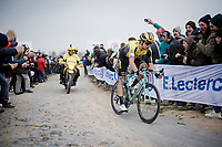 Wout Van Aert (BEL/Jumbo-Visma) over the infamous Carrefour de l' Arbre cobbles<br /> <br /> 117th Paris-Roubaix 2019 (1.UWT)<br /> One day race from Compiègne to Roubaix (FRA/257km)<br /> <br /> ©kramon