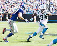 The Carolina Panthers played the New York Giants at Bank of America Stadium in Charlotte, NC.  The Panthers won 38-0 for their first victory of the season.  The Giants dropped to 0-3.  Carolina Panthers running back DeAngelo Williams (34), New York Giants safety Cooper Taylor (30)
