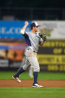 Vermont Lake Monsters second baseman Trace Loehr (6) throws to first during the second game of a doubleheader against the Batavia Muckdogs August 11, 2015 at Dwyer Stadium in Batavia, New York.  Batavia defeated Vermont 1-0.  (Mike Janes/Four Seam Images)