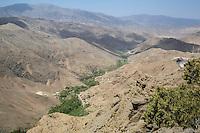 Atlas Mountains, near Tizi N'Tichka Pass, Morocco.  Houses in Mountain Valley.