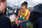 Australia's Savannah Fitzpatrick signs autographs after the Sentinel Homes Trans Tasman Series hockey match between the New Zealand Black Sticks Women and the Australian Hockeyroos at Massey University Hockey Turf in Palmerston North, New Zealand on Sunday, 30 May 2021. Photo: Dave Lintott / lintottphoto.co.nz