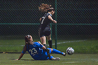 Genk's defender Fleur Bienkens (23) and OHL's forward Jill Janssens (7) pictured during a female soccer game between  Racing Genk Ladies and Oud Heverlee Leuven on the fourth matchday of the 2020 - 2021 season of Belgian Scooore Womens Super League , friday 9 th of October 2020  in Genk , Belgium . PHOTO SPORTPIX.BE | SPP | STIJN AUDOOREN