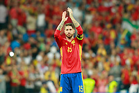 Spain's Sergio Ramos celebrates the victory in the FIFA World Cup 2018 Qualifying Round match. September 2,2017.(ALTERPHOTOS/Acero)