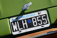 An Argentina licence plate at the make-shift camp site for World Cup fans near Praca Onze in Rio de Janeiro