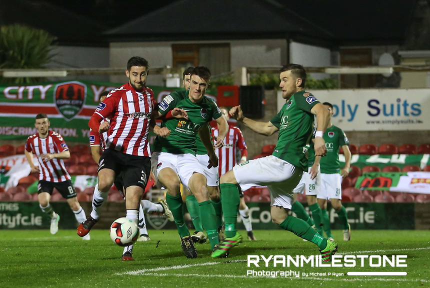 2017 SSE Airtricity League Premier Division,<br /> Cork City vs Derry City,<br /> Tuesday 17th October 2017,<br /> Turners Cross, Cork.<br /> Aaron Barry of Derry with Steven Beattie and Ryan Delaney of Cork.<br /> Photo By: Michael P Ryan