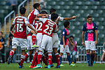 SCAA player celebrate after scoring during the HKFA Premier League between South China Athletic Association vs Kitchee at the Hong Kong Stadium on 23 November 2014 in Hong Kong, China. Photo by Aitor Alcalde / Power Sport Images