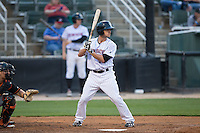 Grant Massey (18) of the Kannapolis Intimidators at bat against the Delmarva Shorebirds at Kannapolis Intimidators Stadium on April 21, 2016 in Kannapolis, North Carolina.  The Intimidators defeated the Shorebirds 9-3.  (Brian Westerholt/Four Seam Images)
